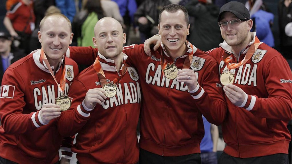 Brad Jacobs, Ryan Frye, EJ Harnden, and Ryan Harnden celebrate after winning the Olympic trials in 2013. They treat curling differently than most teams.