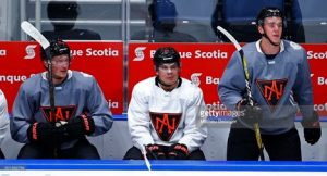 "Three 20-Or-Under ""Generational Players/Talents"" from left to right: Jack Eichel #15, Auston Matthews #34, and Connor McDavid #97, all of whom were teammates for Team North America during the 2016 World Cup of Hockey.  Image Source: Getty Images"